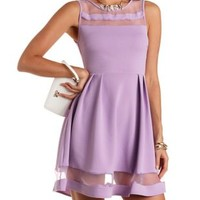 Knit & Organza Skater Dress by Charlotte Russe