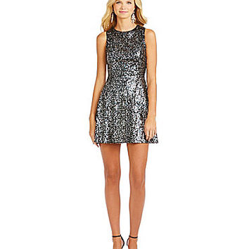 Hailey Logan Multi-Colored Sequin Dress - Black/Silver