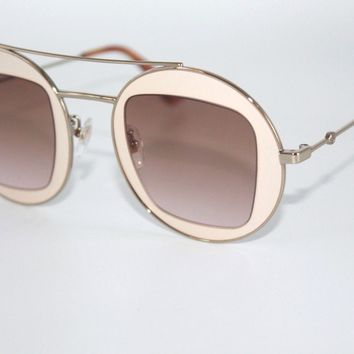 GUCCI Womens Sunglasses GG0105S 007 Gold & Beige Frame W/ Brown Gradient Lens