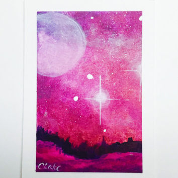 Galaxy Lanscape ACEO, Original Artist Trading Card, Night Sky Acrylic Painting