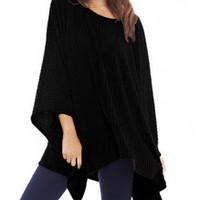Fall Fashion Black Cape Style Asymmetric Oversized Knitwear