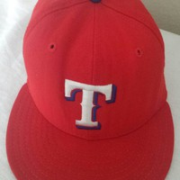 TEXAS RANGERS Hat WOOL Baseball Cap Vintage Worn NEW ERA Diamond Sz 7 1/8 USA