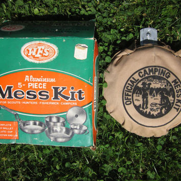 Vintage Mess Kit Unused Complete 5 Piece Set of Aluminum Cooking Pots with Canvas Cover, Great for Camping, Hiking, or Fishing Made in Japan