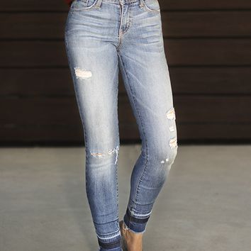 FLYING MONKEY Mid Rise Distressed Skinny Jean with Released Hem