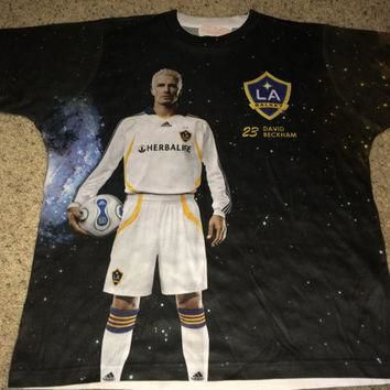Sale!! Vintage LA GALAXY Soccer Jersey #23 David Beckham Football Shirt MLS tee