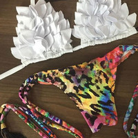 White Ruffled Bikini Top With Printed Bottom Swimwear