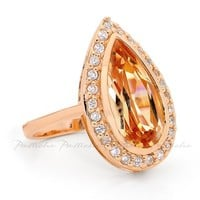 Pastiche Tear Drop Ring in Rose Gold Plated Silver and Champagne Cz R813CPRG