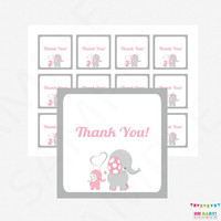 Pink and Gray Elephant Baby Shower Thank You Tags, Pink Gray Baby Shower, Printable Favor Tags, Baby Shower Decor, Favor Cards, EL0005-LP