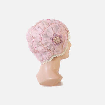 Vintage 20s BOUDOIR CAP / 1920s Pale Pink Ruched Silk & Ribbon Night Sleeping Bonnet Hat