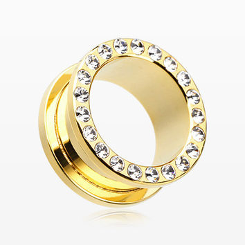 A Pair of Golden Encircle Sparkle Screw-Fit Ear Gauge Tunnel Plug