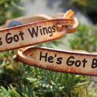 millerleather.com- Hardy, AR.    Home of quality handmade leather goods and accessories...Personalized Free! - Couple's Bracelet Set --(She's Got Wings---He's Got Boots) in braided leather (Powered by CubeCart)