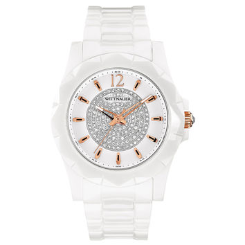 Wittnauer WN4014 Women's Crystal Accented White Dial White Ceramic Watch
