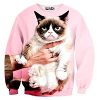 Adorable Grumpy Cat Graphic Print Pullover Sweatshirt Sweater in Pink | Gifts for Kitty Cat Lovers