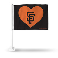 SF GIANTS BLACK WITH ORANGE HEART CAR FLAG