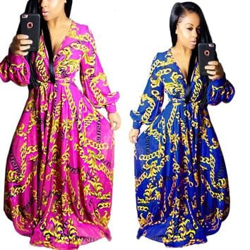 2017 sexy summer maxi long dress african clothing bazin riche robe golden chain print vestidos mujer loose sparkly dashiki dress