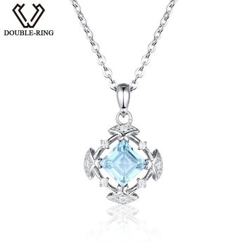 DOUBLE-R Genuine Natural Blue Topaz Pendants 925 Sterling Silver jewelry Necklaces Pendants for Women Fine Jewelry
