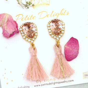 Blush Earrings, Blush Pink Crystal Earrings, Tassel Earrings, Bridal Blush Earrings, Bridesmaids Earrings, Powder Pink Earrings.