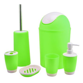 6 Piece Plastic Bath Accessory Bathroom Set, YIFAN Lotion Dispenser,Toothbrush Holder,Tumbler Cup,Soap Dish, Trash Can,Toilet Brush Set - Apple Green