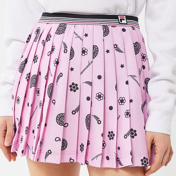 FILA X Fleamadonna UO Eclusive Oda Printed Pleated Mini Skirt | Urban Outfitters