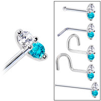 14K White Gold Mint Green 1.5mm CZ Marquise Nose Ring | Body Candy Body Jewelry