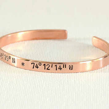 Latitude Longitude Coordinates Cuff Bracelet in Copper for Personalizing, Stacking, or Simple Statements including 7th Copper Anniversaries