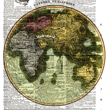 Eastern Hemisphere - 1815 - Historical Map - Vintage Dictionary Decorative Art Print - Page Size 8.5x11