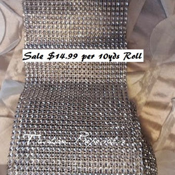 Diamond Bling Mesh below wholesale price roll of 10 yards 4.5 inches wide. below wholesale price.
