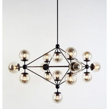 Modern Carbon Steel & Glass 14 Bulb Jason Miller Modo Chandelier Reproduction Ceiling Light Lamp