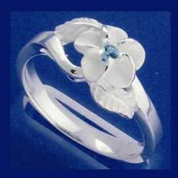 STERLING SILVER 925 HAWAIIAN PLUMERIA FLOWER MAILE LEAF BLUE CZ RING SIZE 3 - 9