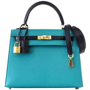 Hermes Kelly 25 Sellier Bag HSS Blue Paon / Black Chevre Mysore Gold