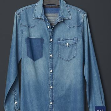 + GQ NSF Washed Chambray Western Shirt