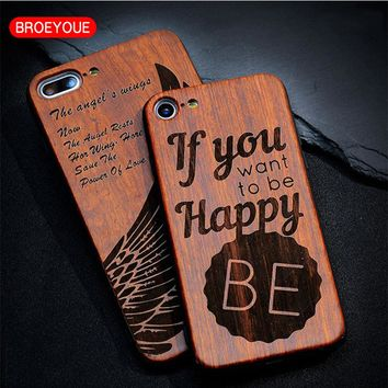BROEYOUE Wood Case For iPhone 5S 5 SE 6 6S Plus Bamboo Wooden TPU Embossed Phone Case For iPhone 7 Plus Shockproof Case Cover