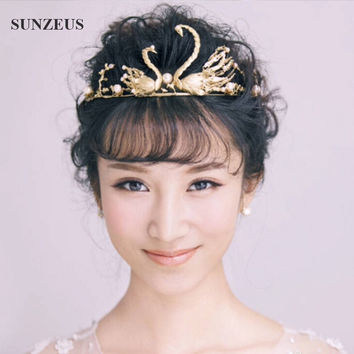 Princess Crown Vintage Golden Baroque Bridal Headband Noiva Swans Coroa De Princesa SQ059