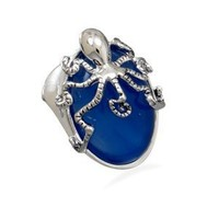 Fashion Octopus Ring with Genuine Blue Agate Stone