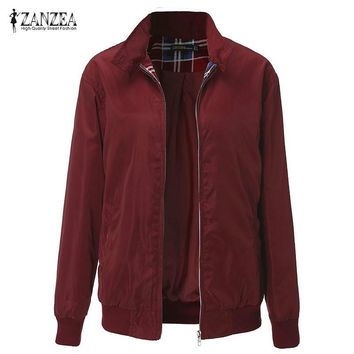 Trendy ZANZEA 2018 Autumn Winter Women Casual Outwear Long Sleeve Vintage Plaid Tartan Zippered Pockets Bomber Jacket Coat Plus Size AT_94_13