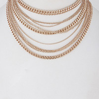 """14"""" gold multi layered chain choker necklace .30"""" earrings"""