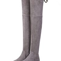 Gray Suedette Pointed Laced Back Over The Knee Flat Boots