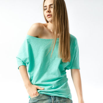 NEW - One shoulder top in mint green cotton