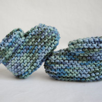 Knit Baby Booties - Baby Clothes - Baby Boy - Multicolored Blue and Green