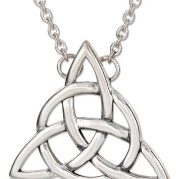 "18"" Celtic Trinity Knot Necklace w/ Cable Chain - Sterling Silver"