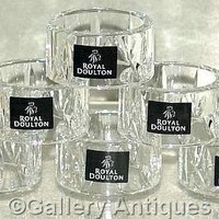 SIX Royal Doulton DORCHESTER lead CRYSTAL cut GLASS serviette NAPKIN RINGS boxed