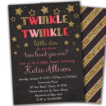 Pink and Gold Girl Baby Shower Invitations - Twinkle Twinkle Little Star Girl Baby Shower Invite - Gold Glitter - SIlver Glitter - Elegant