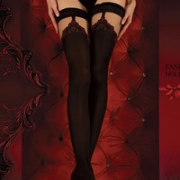 Ballerina Hosiery 345 Hold Ups Thigh High Stockings w/ Red