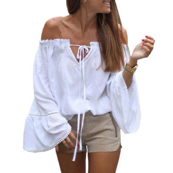 Women White Off Shoulder Sexy Blouses 2017 New Ladies Slash Neck Long Flare Sleeve Boho Shirts Casual Loose Tops Blusas