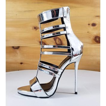 So Me Beyaz Silver Patent Multi T-Strap Bootie High Heel Single Sole Shoe
