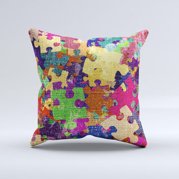 Neon Colored Puzzle Pieces Ink-Fuzed Decorative Throw Pillow