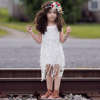 Tassel Dress Girl Lace Dreses 2016 Summer Fashion Girls White Lace Flower Princess Party Sundress kids dress for girls 0-6Y