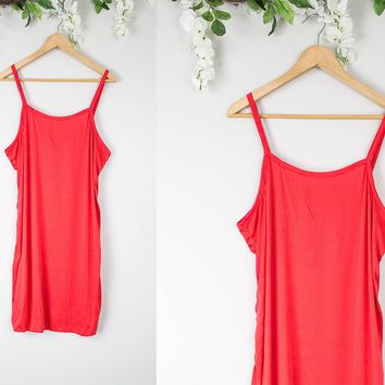 Vintage Red Mini Slip Dress
