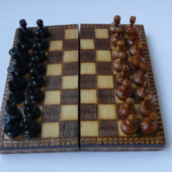 Vintage chess Board game chess set pyrography Small size wooden box chess game kids gift