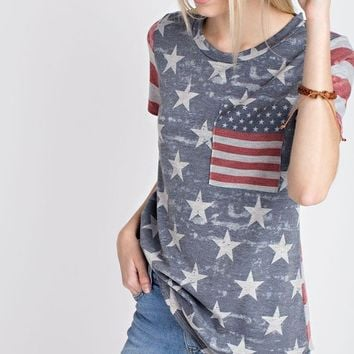 USA Stars and Stripes Pocket Tee Shop Simply Me Boutique 4th of July SMB – Simply Me Boutique